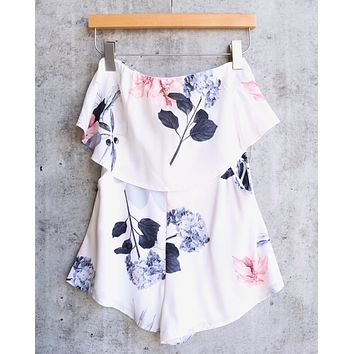 palm springs floral print strapless romper