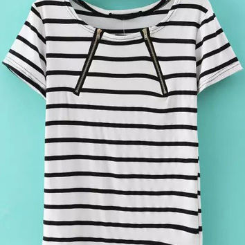 Black and White Short Sleeve Zip Up Striped Blouse