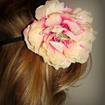 Large White and Pink Peony, black elastic headband //Adult Size//
