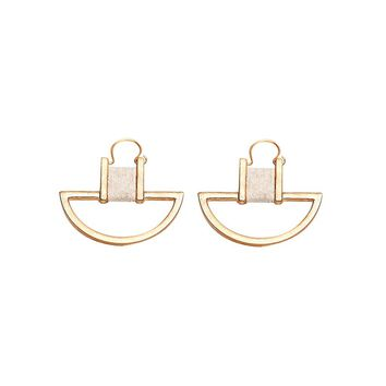 Clustered Love Earrings Gold Cream