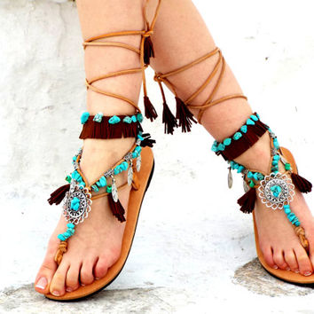 Native America leather Sandals, hippie shoes, Gladiator Sandal, barefoot, Genuine leather shoes, festival sandal, Valentine's