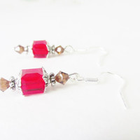 Crystal Cube Earrings - Sterling Silver Swarovski Crystal Elements Cube Earrings - Dangle Earrings - Red Bead Earrings - Bold Summer Jewelry