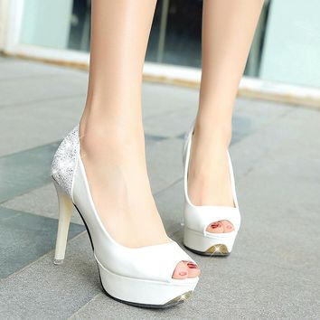 Women Bridal Shoes Open toe High Heels Shoes White Woman Wedding Shoes Peep Toe Platfo