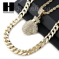 """ICED OUT MIGOS BOXING GLOVE CHARM DIAMOND CUT 30"""" CUBAN CHAIN NECKLACE SET G23"""