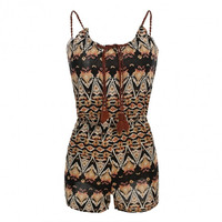 Women Fashion Adjustable Strap Sleeveless Elastic Wasit Short Overall Playsuit Rompers Jumpsuit