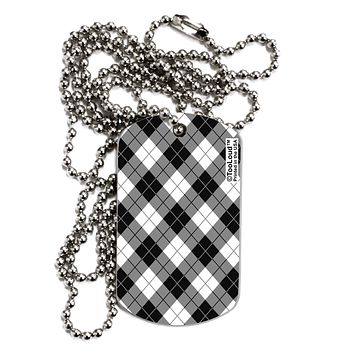 Black and White Argyle AOP Adult Dog Tag Chain Necklace by TooLoud