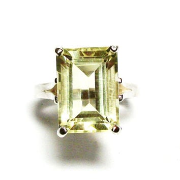 "Yellow quartz, lemon yellow quartz, statement ring, solitaire ring, lemon yellow, engagement ring,  s 6 1/2   ""Sweet Lemonade"""