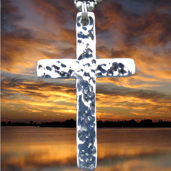 Silver Cross Hand Hammered Necklace Pendant 2 popular sizes Womens Mens Girls Boys Christian Jewlery - Saint Michaels Jewelry