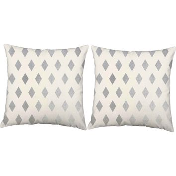 Metallic Silver Diamonds Throw Pillows