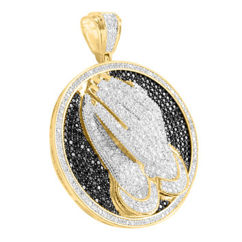 14k Gold Tone Praying Hands Black White Lab Diamond Round Pendant