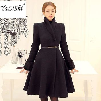 Women Jackets and Coats 2017 Autumn Winter Woolen Blends Coat Turn Down Collar A Line Stylish Trench Coat Female Black Overcoat