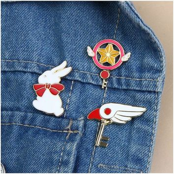 Trendy Cartoon Creative Cute Rabbit Wing Star Enamel Pin Metal Brooch Fashion Denim Jackets Collar Pins Button Brooches For Women Girl AT_94_13