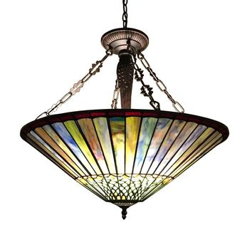 "GRACETiffany-style Geometric 3 Light Inverted Ceiling Pendant Fixture 22"" Shade"