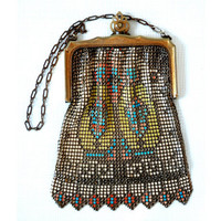 Art Deco Whiting and Davis Enameled Mesh Bag with Geometric Design