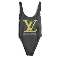 LV Louis Vuitton 2018 Women's Sexy Fashion High Quality Siamese Bikini Swimsuit F-ZDY-AK black
