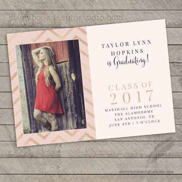 Rose Gold Glitter Graduation Invitation