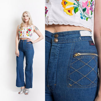 Vintage 70s Bell Bottoms high Waisted Blue Jeans 1970s - XS Extra Small