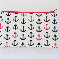 Navy blue and hot pink anchor key chain wristlet in designer cotton fabric handmade