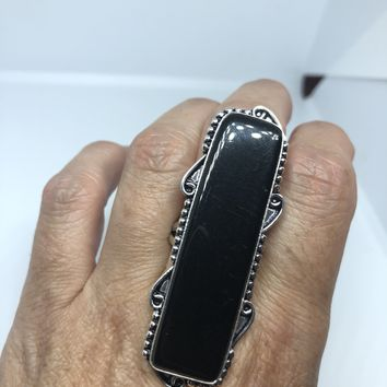 Vintage Genuine Black Onyx Silver Statement Ring