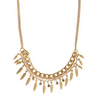 Gold multi feather and stone drop necklace at debenhams.com