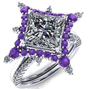 Thalim Princess/Square Moissanite 4-Point Star Amethyst and Diamond Halo Ring ver. 2