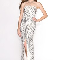 Scala 47708 Strapless Beaded Gown