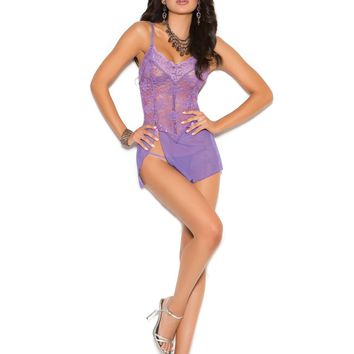 Lace and mesh babydoll with adjustable straps and matching  g-string  Dahlia Purple