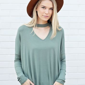 Light Olive DLMN Long Sleeve Choker Top