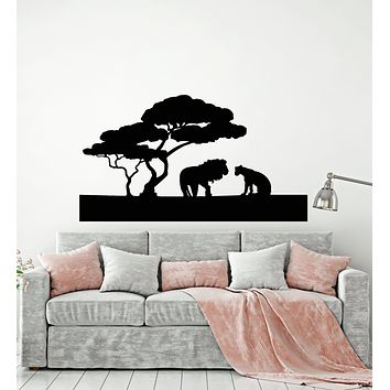 Vinyl Wall Decal Lions Family African Landscape Nature Animal Kids Decor Stickers Mural (g648)