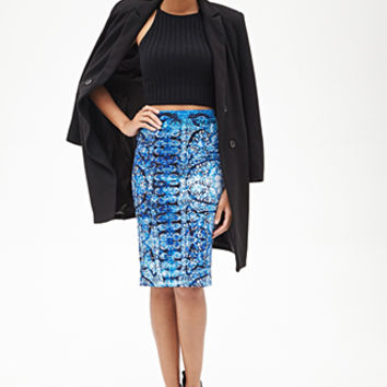 FOREVER 21 Abstract Scuba Knit Skirt Blue