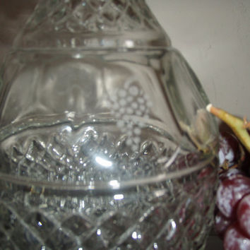 Vintage Crystal Diamond Cut Glass Wine Decanter Carafe by Purana