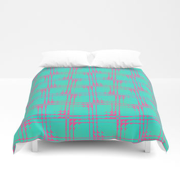 Aqua Pink Square Pattern Duvet Cover by Sheila Wenzel