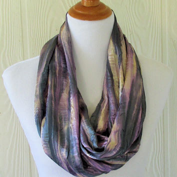 Purple, Gray and Tan Infinity Scarf with Gold Stripes, Women's Fashion Scarf , Circle Scarf, Loop Scarf, Tube Scarf , Scarves, Eclectasie