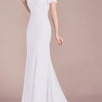 878625e2fc White Lace Draped Off Shoulder For Wedding Gowns Banquet Elegant Party Maxi  Dress