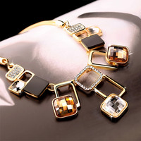 Stylish Jewelry Gift New Arrival Shiny Crystal Korean Sweater Chain Geometric Necklace [10231542663]