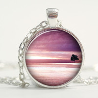 Pendant with Chain - Tree in a purple background
