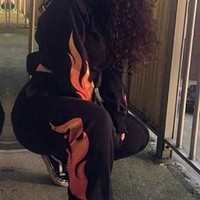 Hot Like Fire Flames Graphic Black Sweatsuit
