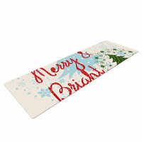 "Famenxt ""Merry And Bright"" Holiday Typography Yoga Mat"