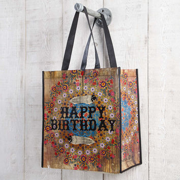Happy Birthday Flower & Feather Large Recycled Gift Bag by Natural Life