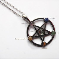 Pagan and Wiccan style choker or necklace with pentacle pendant with tiny stones cabochon