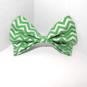 Bright Green Striped Dog Bow Tie