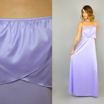 vtg 70s Bohemian LILAC grecian hippie 100% Polyester RUFFLED CAPE floor-sweeping Maxi Dress gown, small