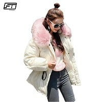 Fitaylor Hooded Big Fur Black Cotton Parka Mujer 2017 Casual Loose Winter Jacket Women Thick Warm Coat Female Padded Overcoats