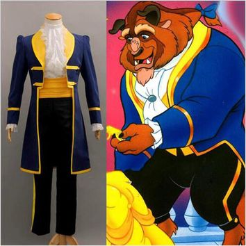 2017 free custom cosplay costume Beauty and the beas prince Adam beast pack cosplay male halloween stage stage dress