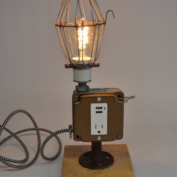 Man Cave Desk Lamp Cell Phone Charging Lamp Cell Phone Accessory Charger USB Port Dorm Decor iPhone iPod Charger Reclaimed Maple Wood