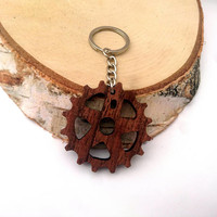 Sprocket Wooden Keychain, Bike Keychain, Walnut Wood, Cool Keychain, Environmental Friendly Green materials