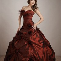 Strapless Ball Gown Drape Burgundy Floor-length with Flower Prom Dress PD0593