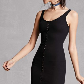 Snap-Button Front Bodycon Dress