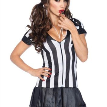 DCCKLP2 3Pc. Pleate Skirt Zipper Fronts Referee  Dress W/ Socks And Whistle in BLACK/WHITE