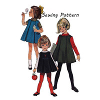 1960s Simplicity 6156 Girl's Inverted Pleat Jumper Bias Collar Blouse Vintage Sewing Pattern Size 6x Bust 25in/53cm